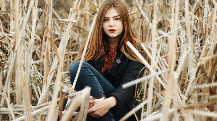 girl outdoors, dark eyes, redhead, red lipstick, model, girl
