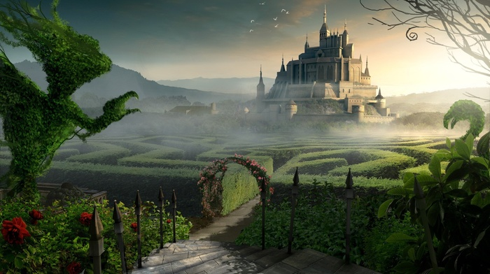 forest, digital art, fantasy art, tower, sunlight, castle, CGI, branch, mazes, nature, sky, architecture, flowers, clouds, landscape, hill, maze, birds, leaves, stairs, plants, mist, trees