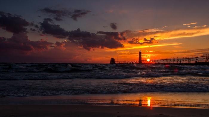coast, silhouette, landscape, people, house, sunset, lighthouse, waves, sand, USA, clouds, Sun, nature, sea, Michigan, pier, reflection, sky, horizon, beach