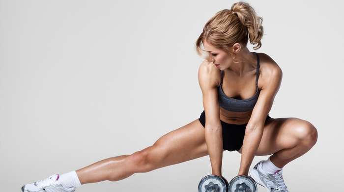 fitness model, girl, sports bra, blonde, sporty, tight clothing, dumbbells, simple background