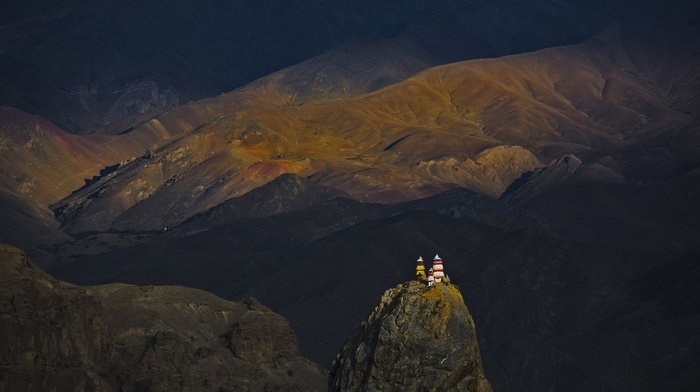 nature, landscape, mountain, monastery, temple, sunlight, sunset, Kashmir