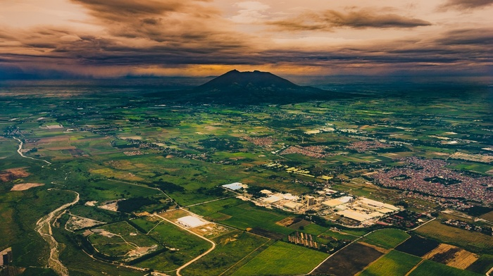 volcano, landscape, clouds, nature, sunset, city, field, Philippines, valley