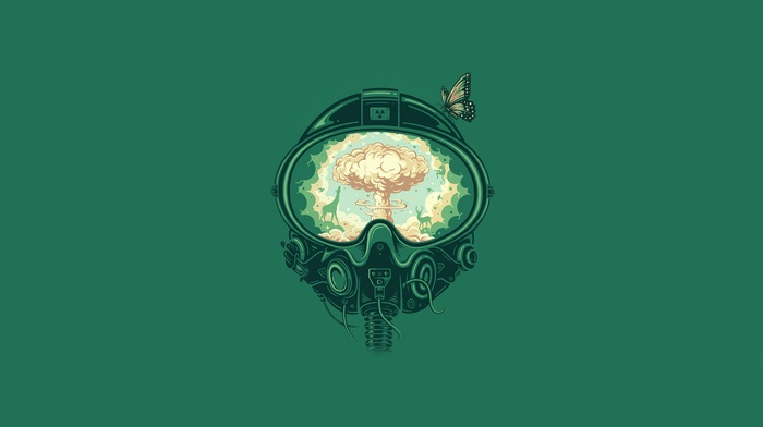 butterfly, minimalism, helmet, artwork, apocalyptic