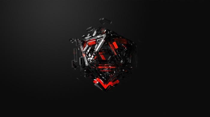 triangle, 3D, simple background, geometry, render, minimalism, digital art, CGI, black background, abstract