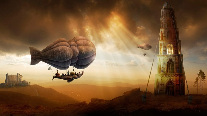 Zeppelin, airships, people, ropes, painting, hot air balloons, sun rays, clouds, flying, tower, castle, fantasy art, nature, trees, hill, digital art, landscape