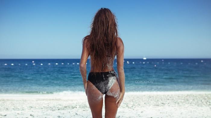 girl, back, Ivan Gorokhov, sea, beach, bikini, sand, swimwear, ass, Maxim Guselnikov, the gap