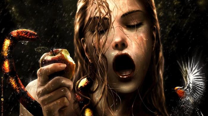 snake, fantasy art, artwork, EVE, sin