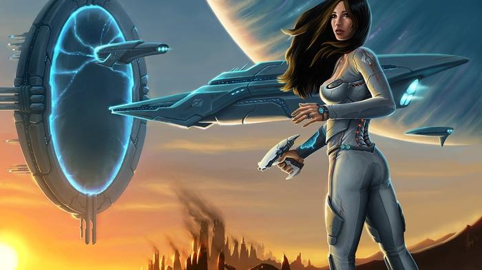 artwork, Hawken, science fiction, girl, video games, Portal, futuristic, fantasy art