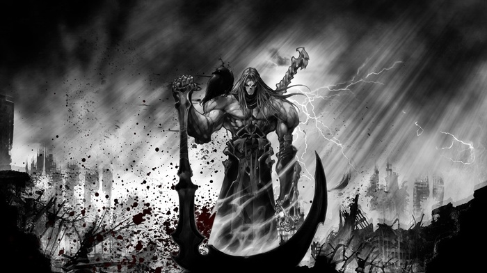 monochrome, death, blood, blood spatter, sun rays, darksiders, video games, selective coloring, scythe, digital art, lightning, spooky, muscles, raven, storm, ruins, clouds, dark, darksiders 2, grim reaper