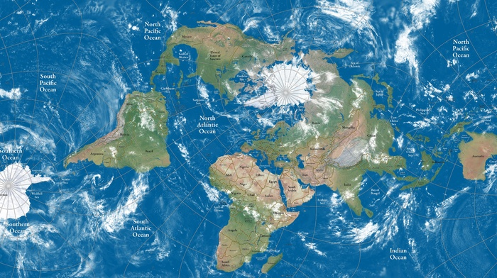 map, Arctic, South America, Asia, atmosphere, clouds, Africa, bay, lake, North America, Australia, island, world map, continents, Antarctica, sea, Europe