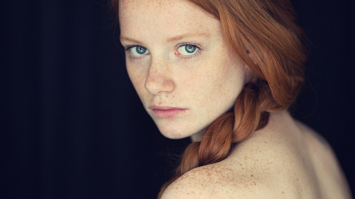 face, model, blue eyes, bare shoulders, looking at viewer, portrait, long hair, freckles, braids, redhead, girl, simple background