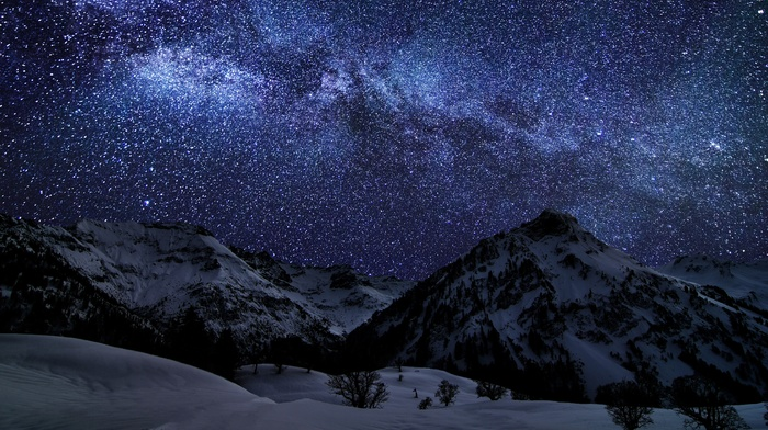 galaxy, starry night, winter, Milky Way, Germany, long exposure, mountain, space, snow, nature, landscape