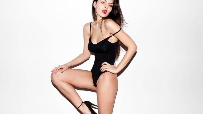 open mouth, leotard, white background, girl, Alexandra D, high heels