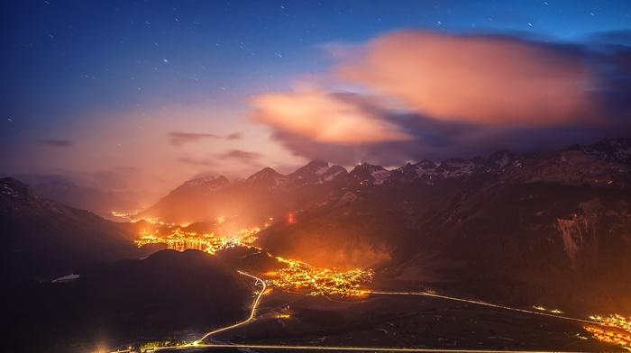 mist, evening, Switzerland, starry night, cityscape, mountain, lights, road, St. Moritz, nature, valley, landscape