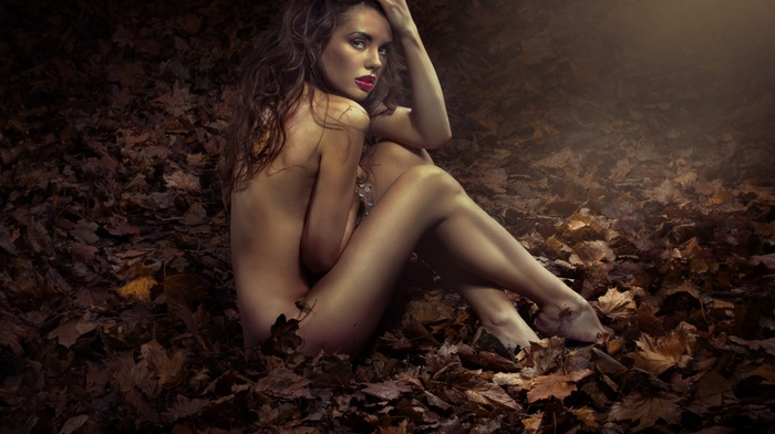 girl outdoors, nude, brunette, foliage, model