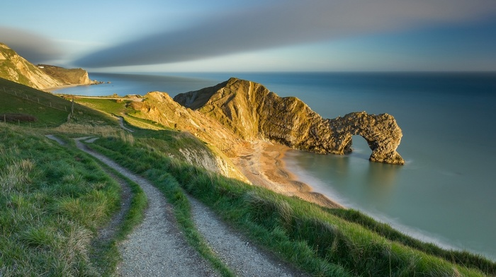 nature, hill, coast, long exposure, landscape, sky, Durdle Door, UK, cliff, sea, grass, path, fence, clouds, rock, field, sunlight, horizon, England