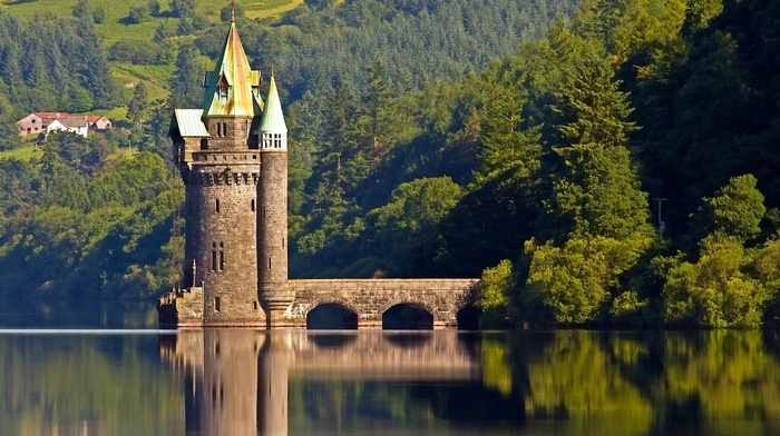 water, trees, landscape, lake, reflection, Vyrnwy Tower, sky, UK, forest, ancient, architecture, Wales, hill, castle, clouds, house, nature, bridge