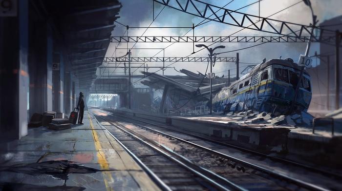 artwork, fantasy art, apocalyptic, train, train station