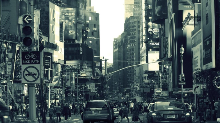 crowds, street, road sign, building, car, billboards, traffic lights, New York City, filter, people, architecture, monochrome, USA, urban