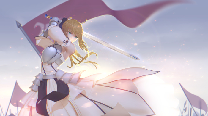 sword, Saber, fate series, long hair, anime girls, FateStay Night, armor, Saber Lily, anime