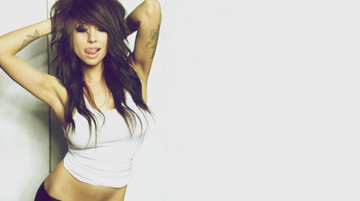 tank top, tongues, simple background, hands in hair, arms up, girl, tattoo, long hair, flat belly, armpits, Alie Layus, brunette