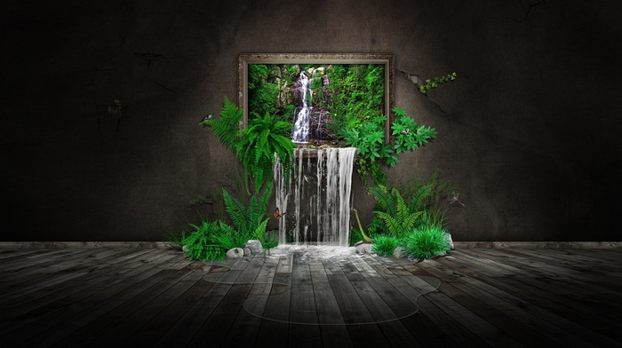 water, puddle, CGI, ferns, minimalism, digital art, waterfall, rock, walls, stones, nature, butterfly, trees, leaves, picture frames, wooden surface