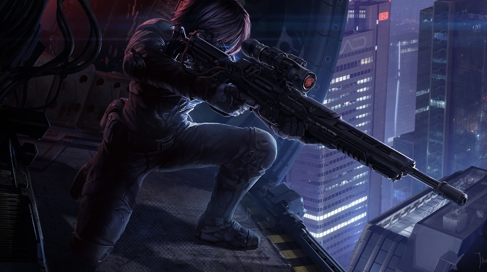 soldier, helicopters, city, sniper rifle, futuristic