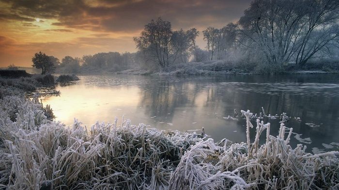 snow, sunset, landscape, trees, frost, cold, sky, shrubs, UK, river, nature, mist, clouds, winter