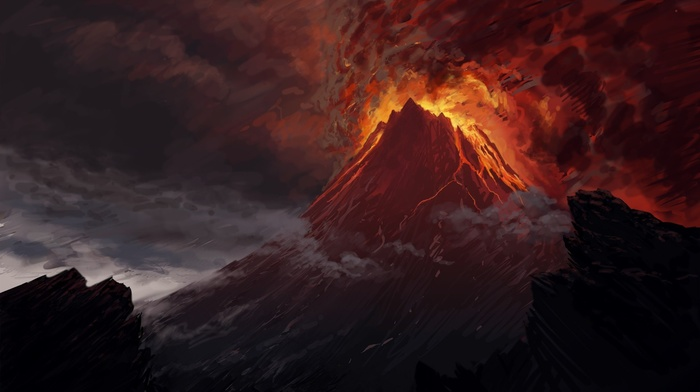 Mordor, lava, The Lord of the Rings, volcano, Mount Doom, artwork