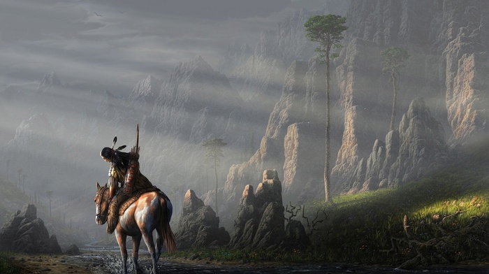trees, painting, sun rays, stream, artwork, bows, birds, animals, warrior, Native American clothing, rock, feathers, mountain, men, native americans, nature, arrows, horse