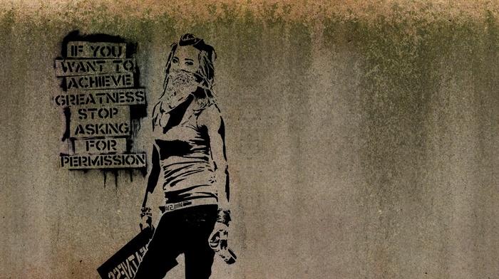 walls, Banksy, inspirational, artwork, quote, text, scarf, graffiti, minimalism, girl