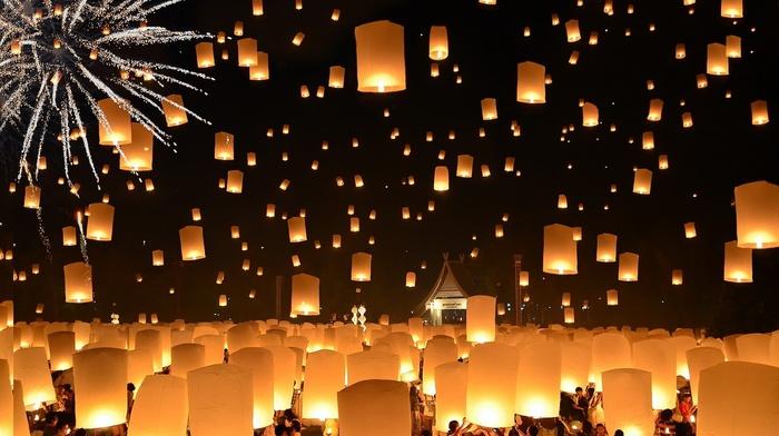 night, candles, house, floating, people, Lantern Festival, fireworks, Thailand, crowds, lantern