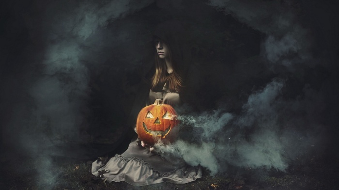 pumpkin, Halloween, fantasy art, artwork, girl