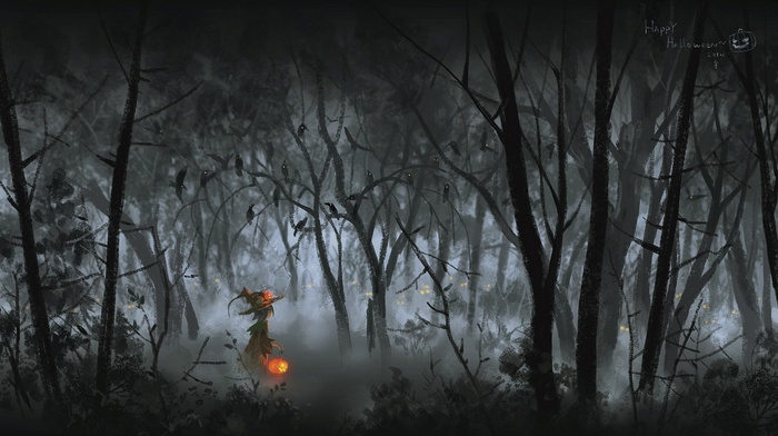 fantasy art, pumpkin, artwork, Halloween, forest