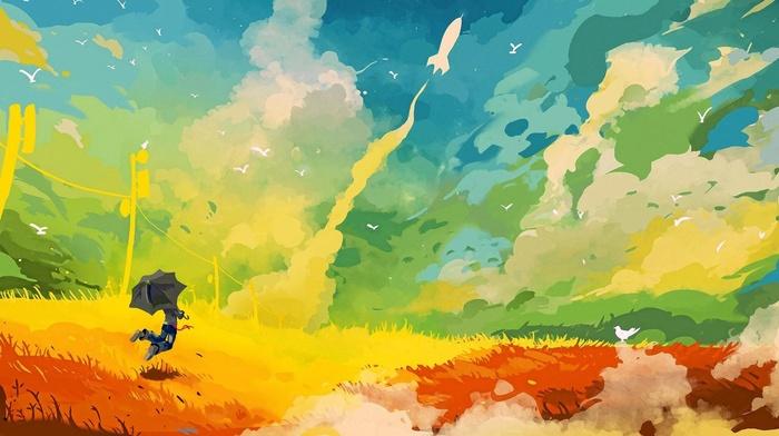 rockets, umbrella, painting, colorful, jumping