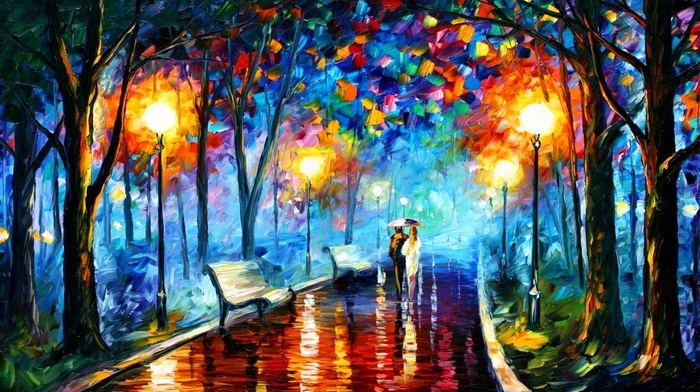 bench, Leonid Afremov, street light, oil painting, fall, painting