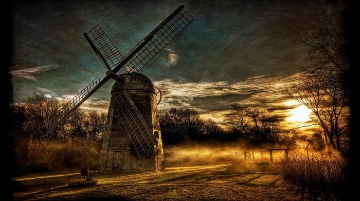 mist, HDR, shrubs, landscape, sky, sunset, nature, windmills, trees