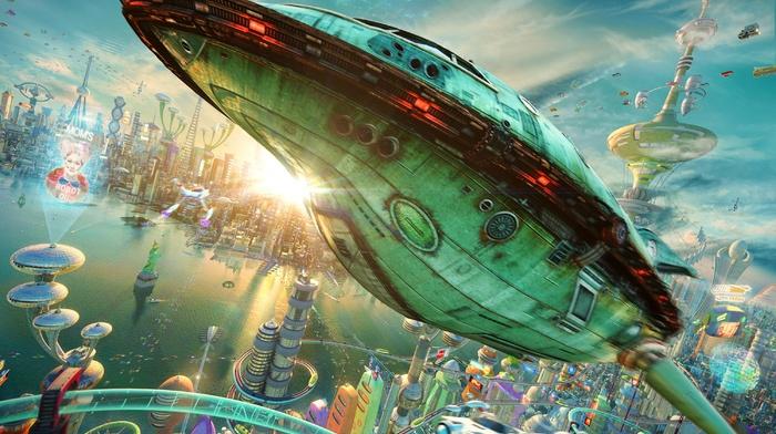 3D, Rocket, realistic, spaceship, city, futuristic, Futurama, planet express