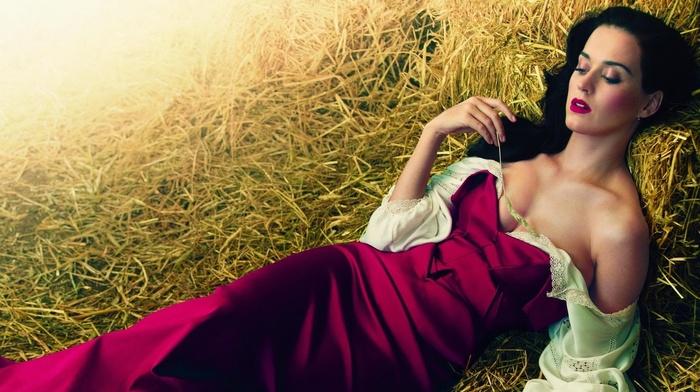 girl, lying down, Katy Perry, straw, dress, purple dresses
