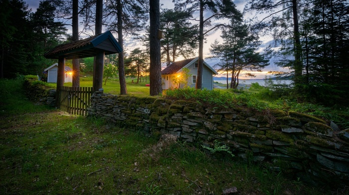 nature, ferns, sunset, Norway, grass, field, lake, evening, landscape, clouds, house, hill, forest, stones, trees, pine trees, lights