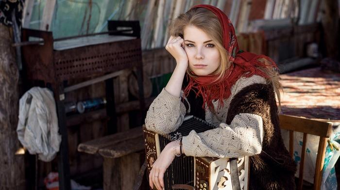 scarf, Irina Popova, blonde, blue eyes, girl, sweater, accordions, Maxim Guselnikov, traditional clothing