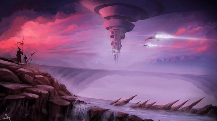 futuristic, spaceship, aircraft, waterfall, fantasy art, river