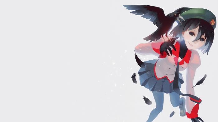 Oshino Ougi, monogatari series, crow, anime girls, short hair, anime, school uniform