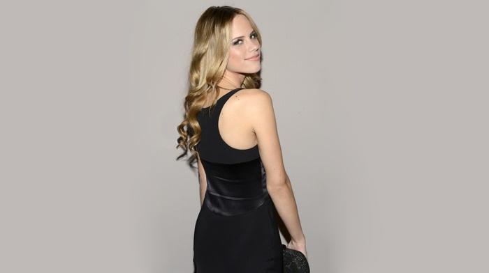 girl, Halston Sage, actress, blonde, gray background