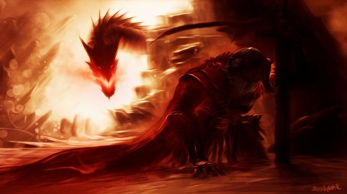 artwork, the elder scrolls v skyrim, fantasy art, dragon