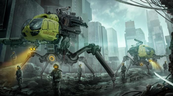 fantasy art, artwork, katana, robot, futuristic, soldier