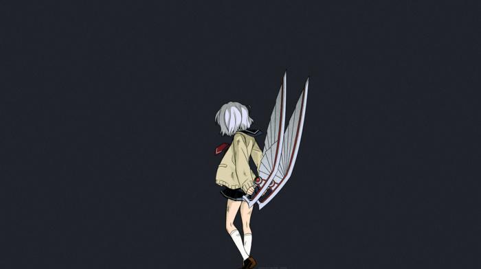 short hair, anime, anime girls, short skirt, schoolgirls, Amamiya Kyouka, Not Lives, school uniform, manga, weapon, Karasuma Wataru, white hair
