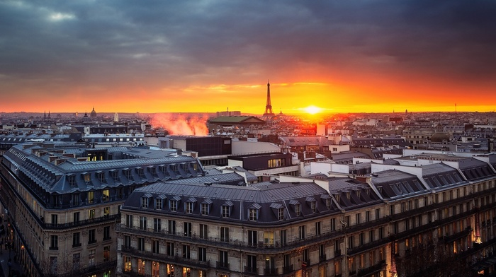 cityscape, church, evening, old building, Europe, capital, city, cathedral, sunrise, sky, France, architecture, clouds, Eiffel Tower, smoke, window, Paris, lights, rooftops