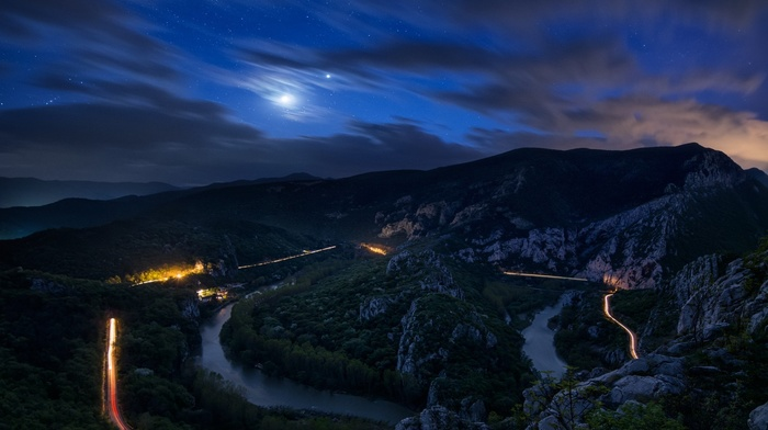 moon, road, valley, lights, long exposure, light trails, landscape, nature, rock, night, river, sky, trees, clouds, mountain, water, stars, Bulgaria, forest
