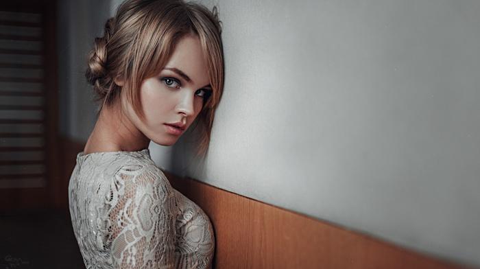 white dress, dress, Georgiy Chernyadyev, model, Anastasia Scheglova, girl, blonde
